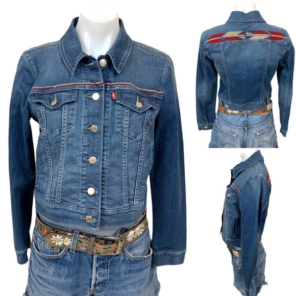Levi's Western Embroidered Cropped Jean Jacket
